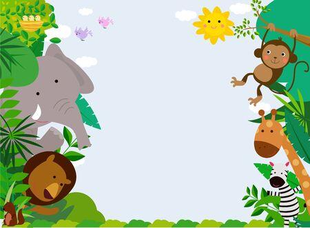 Illustration of African Animals Frame Ilustracja