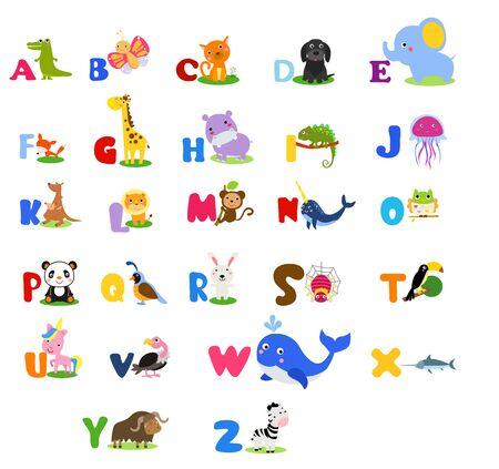 Cute English alphabet with cute cartoon animals.