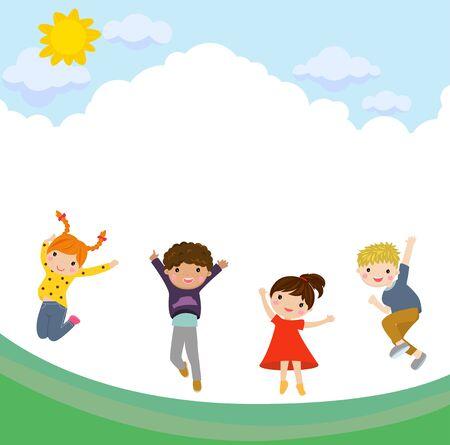 Happy children jumping. Ilustracja