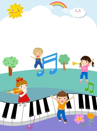 Illustration of cute kids and piano