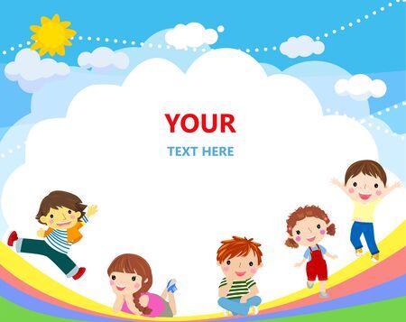 Cute kids and rainbow background. Ilustracja