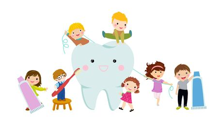 Children cleaning teeth with toothbrush