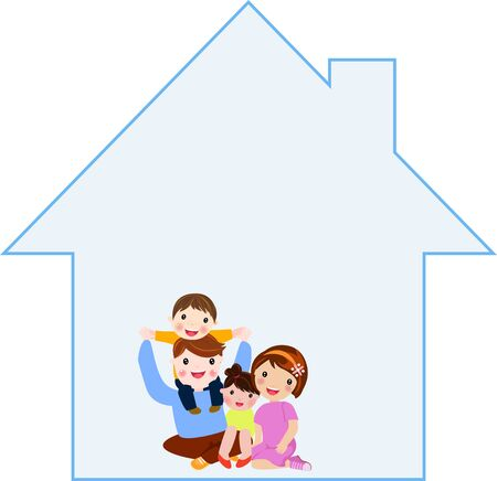 Happy family and house