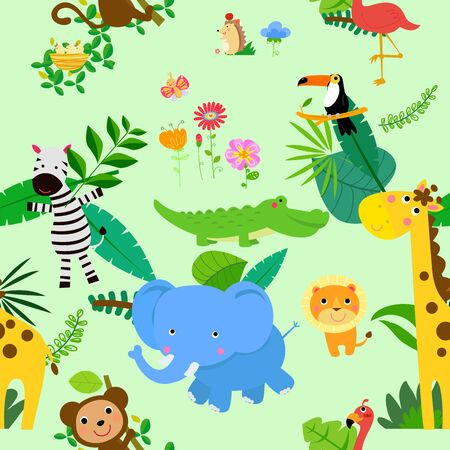 Seamless, Jungle Animal Themed Background Patterns. Parrot, forest.