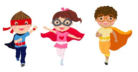 Super hero Kids with costumes set, Children costume characters isolated on white background Illustration