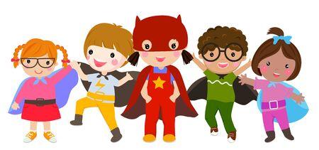 Group of superhero children. Ilustracja