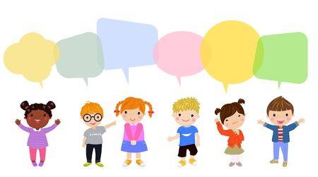 Children and speech bubbles. Ilustracja