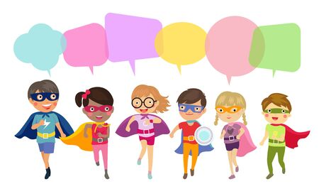 Superhero kids and speech bubbles Ilustracja