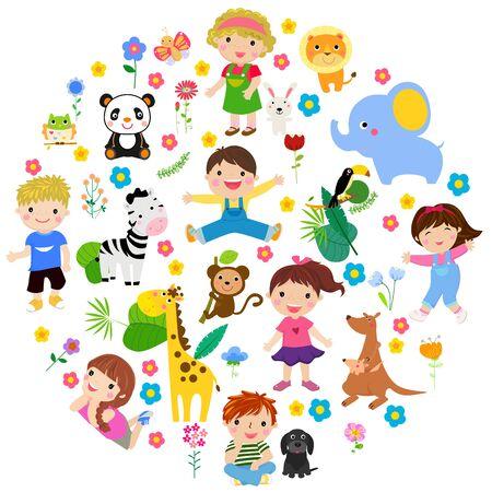 Kids and animal