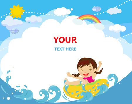 Illustration of a young cheerful girl relaxing on inner tube
