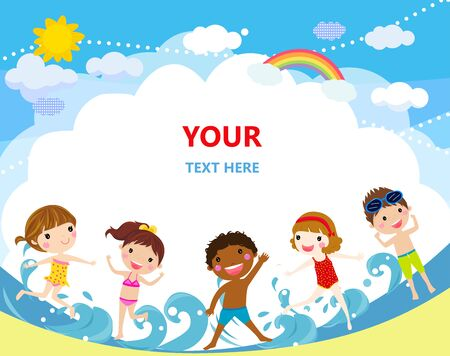 Group of children jumping on beach. Ilustracja