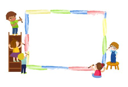 Happy kids painting Ilustracja
