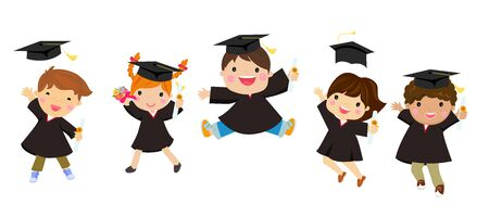 Illustration of graduating kids jumping 向量圖像
