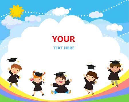 Illustration of graduating kids jumping Ilustracja