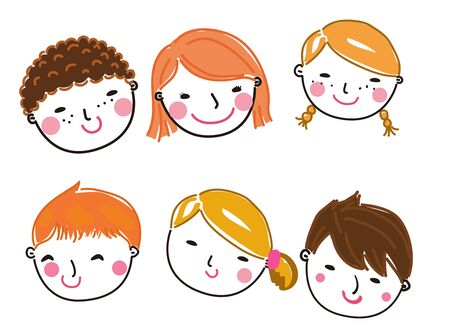 Illustration of group of people face set 矢量图像