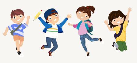 Little kids jumping