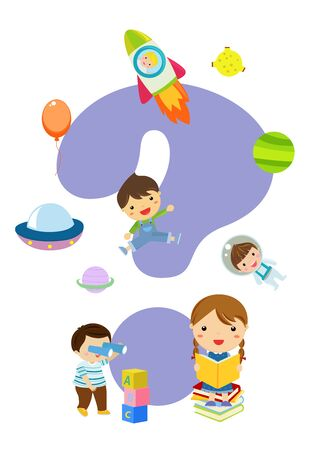 Children with books. Happy Children study illustration on white background. Education concept