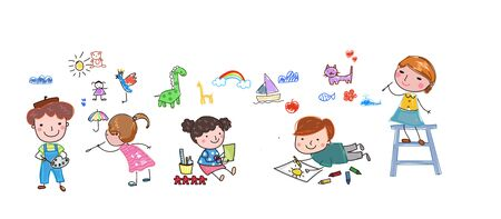 Group of happy children drawing illustration