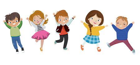 Little kids jumping.