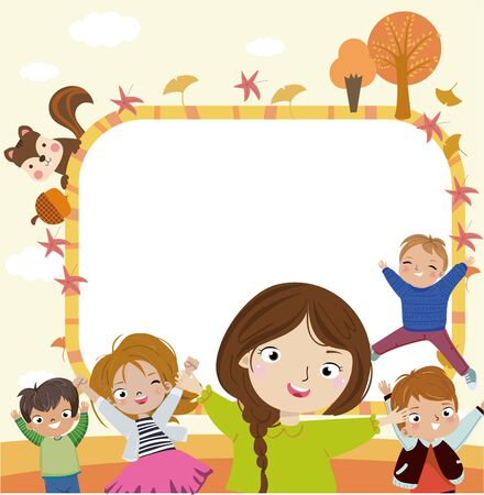Autumn kids and frame.
