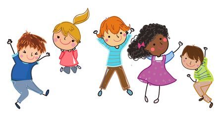 Group of children jumping  illustration 矢量图像