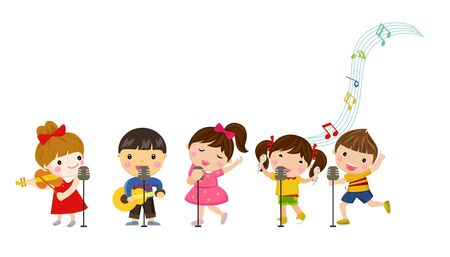 Group of children and music  illustration