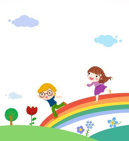 Illustration of kids and rainbow