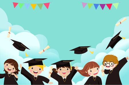 Group of cute graduating kids