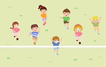 Group of kids running  illustration