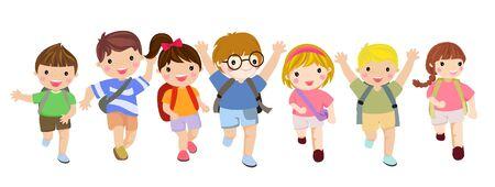 Back to school cartoon kids.