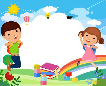 Cartoon Boy and girl with backpacks  illustration 矢量图像
