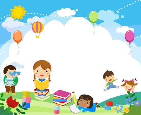 Group of children illustration