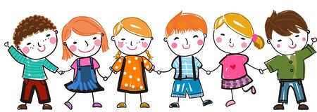 Group of happy children illustration