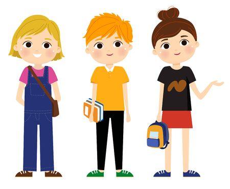 Back to school cartoon kids illustration 矢量图像