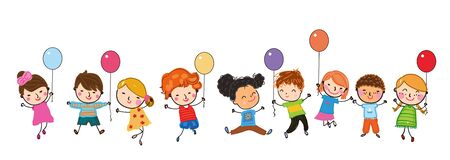 Group of children jumping with balloon