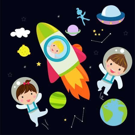 Illustration of  astronaut and  rocket