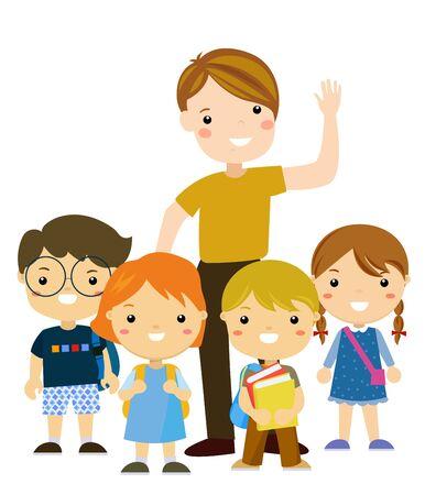 Teacher and students 矢量图像