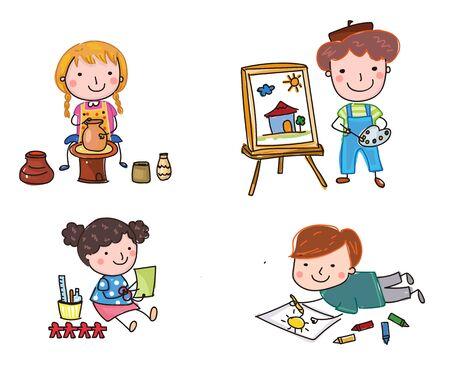Illustration of cute children's creativity