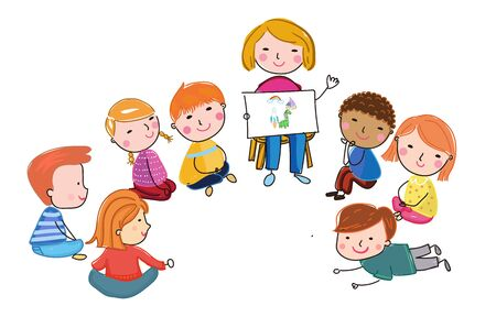 Teacher with kids illustration