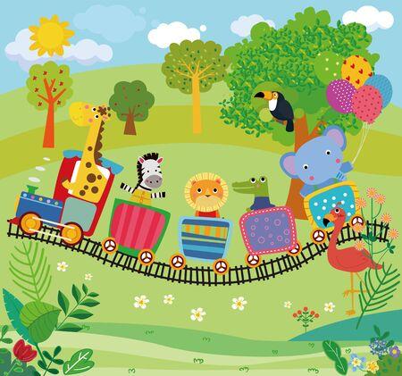 Illustration of cute animals and train 矢量图像