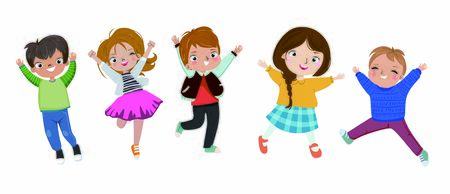 Little kids jumping on white background
