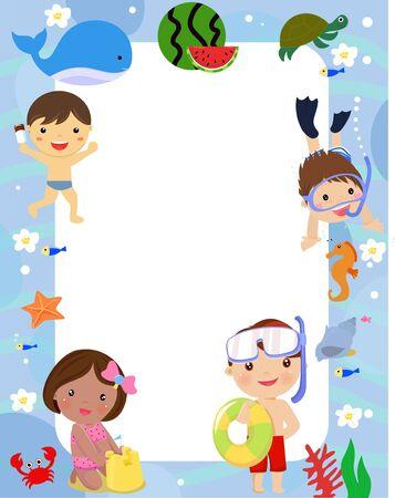 Summer children and frame. Illustration cartoon.