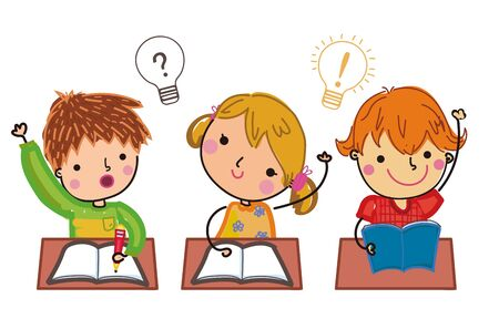 Illustration of cute students  answer questions.