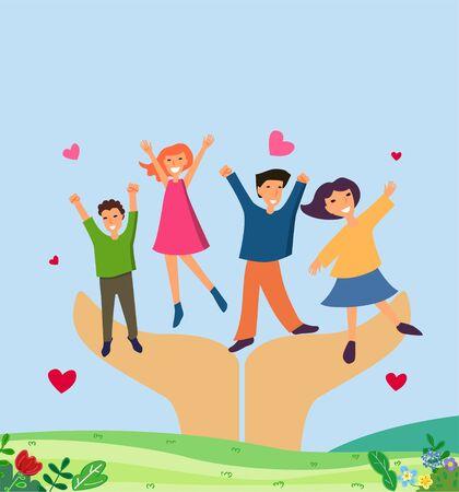 Illustration of group of children jumping