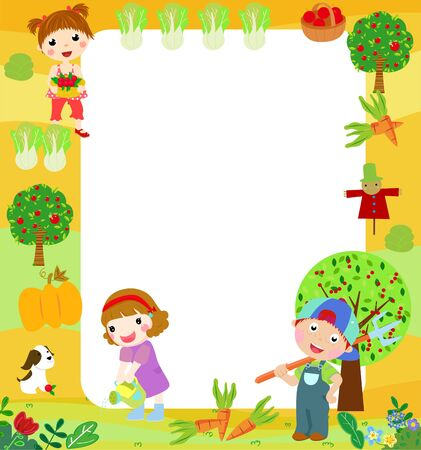 Illustration of children in the farm Vektoros illusztráció