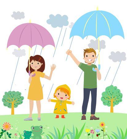 Illustration of  cute family with umbrella 矢量图像