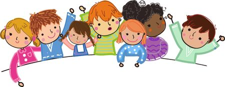 Group of cute kids illustration
