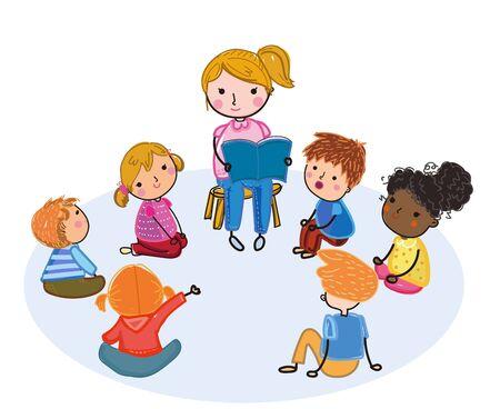 Illustration of teacher reading for kids