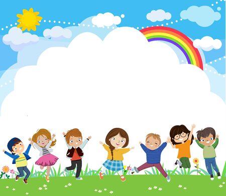 Little kids jumping on the park 矢量图像