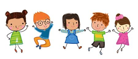 Illustration of group of kids, drawing sketch